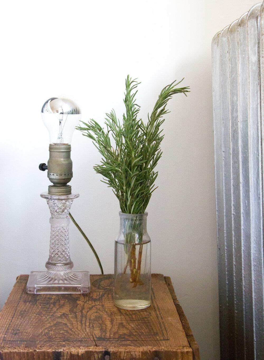 rosemary sprigs on nightstand | reading my tea leaves