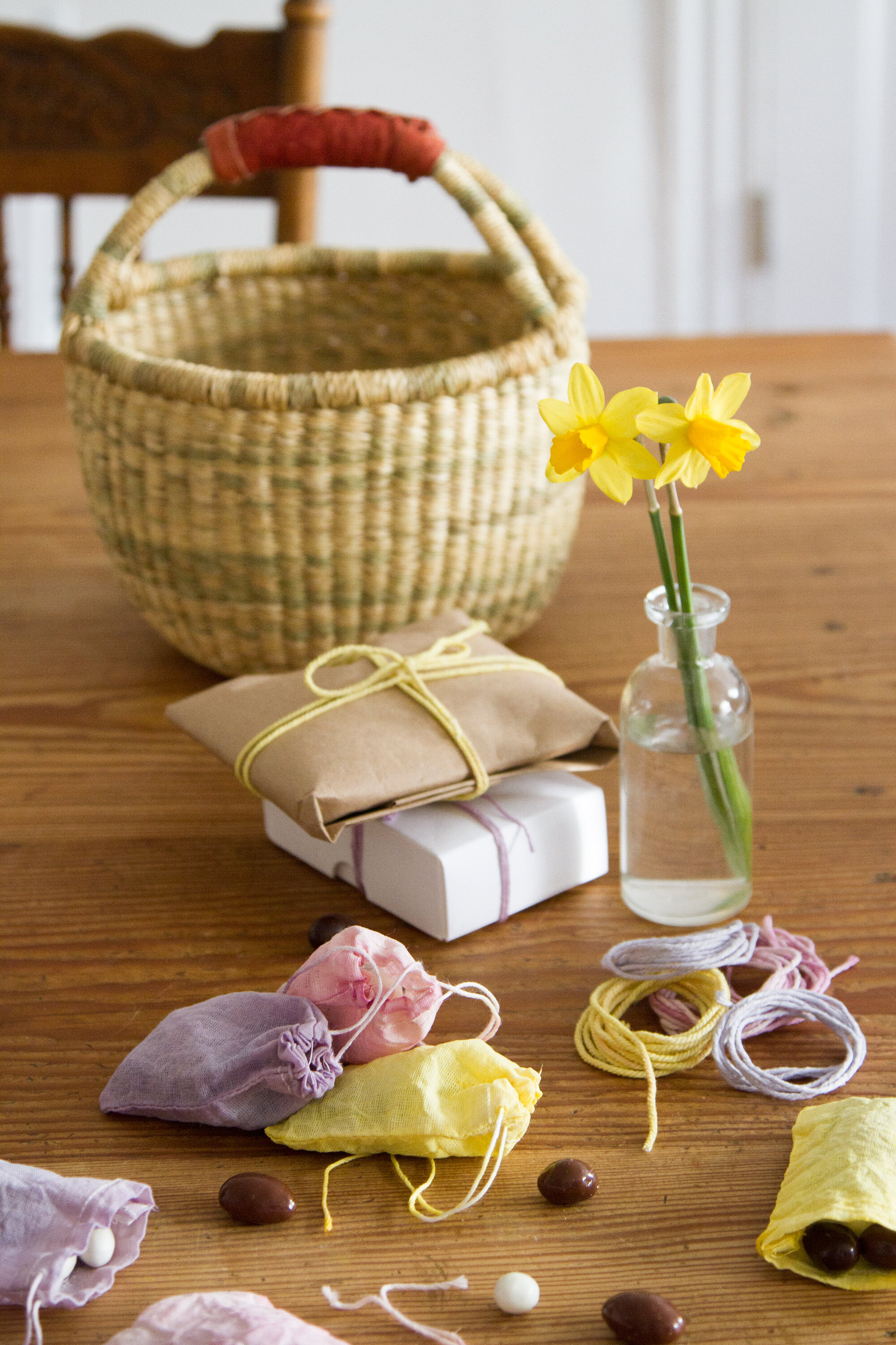 pastel-colored gift wrap with natural dye | reading my tea leaves