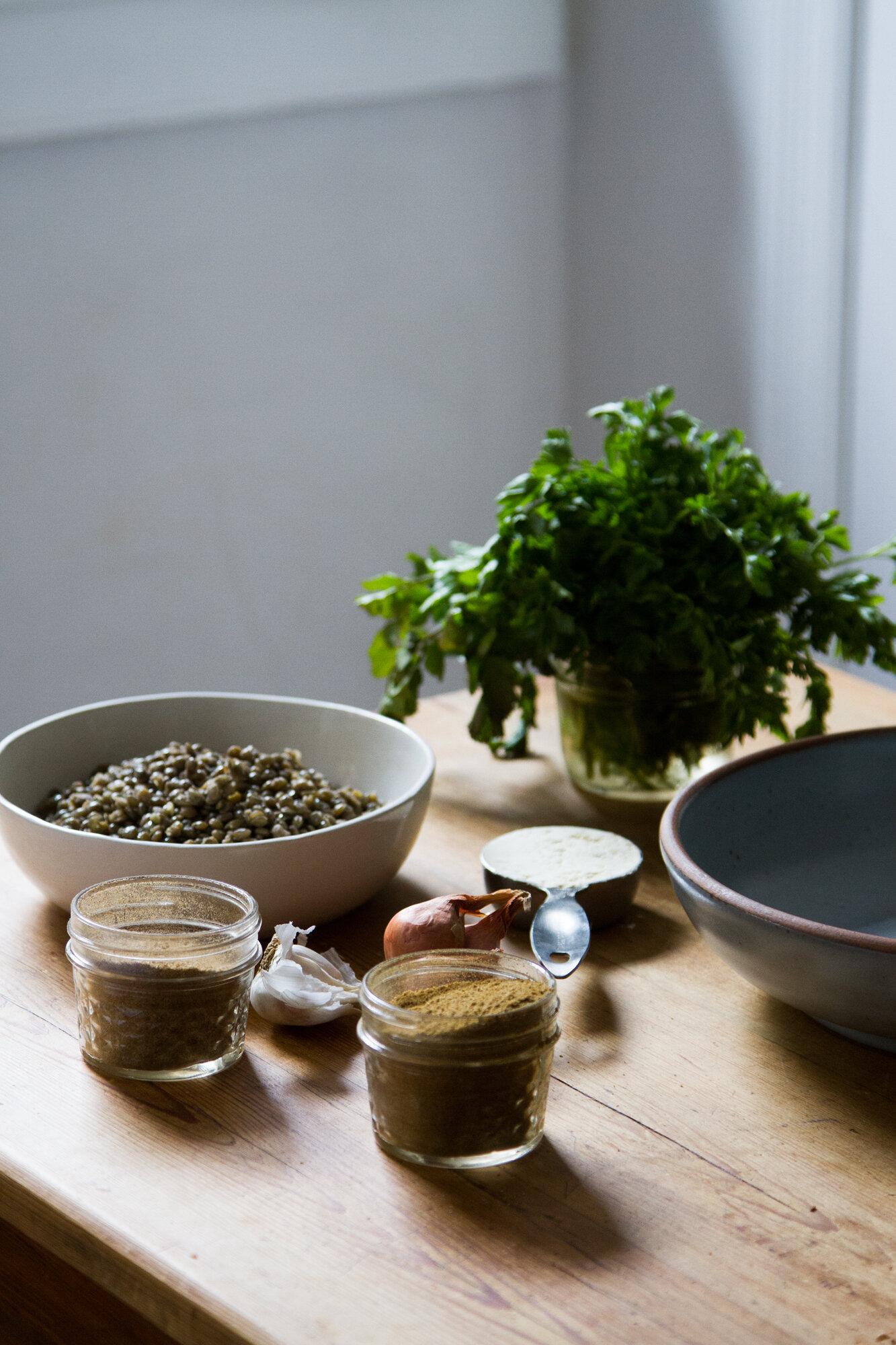 leftover lentil faux-lafel   reading my tea leaves