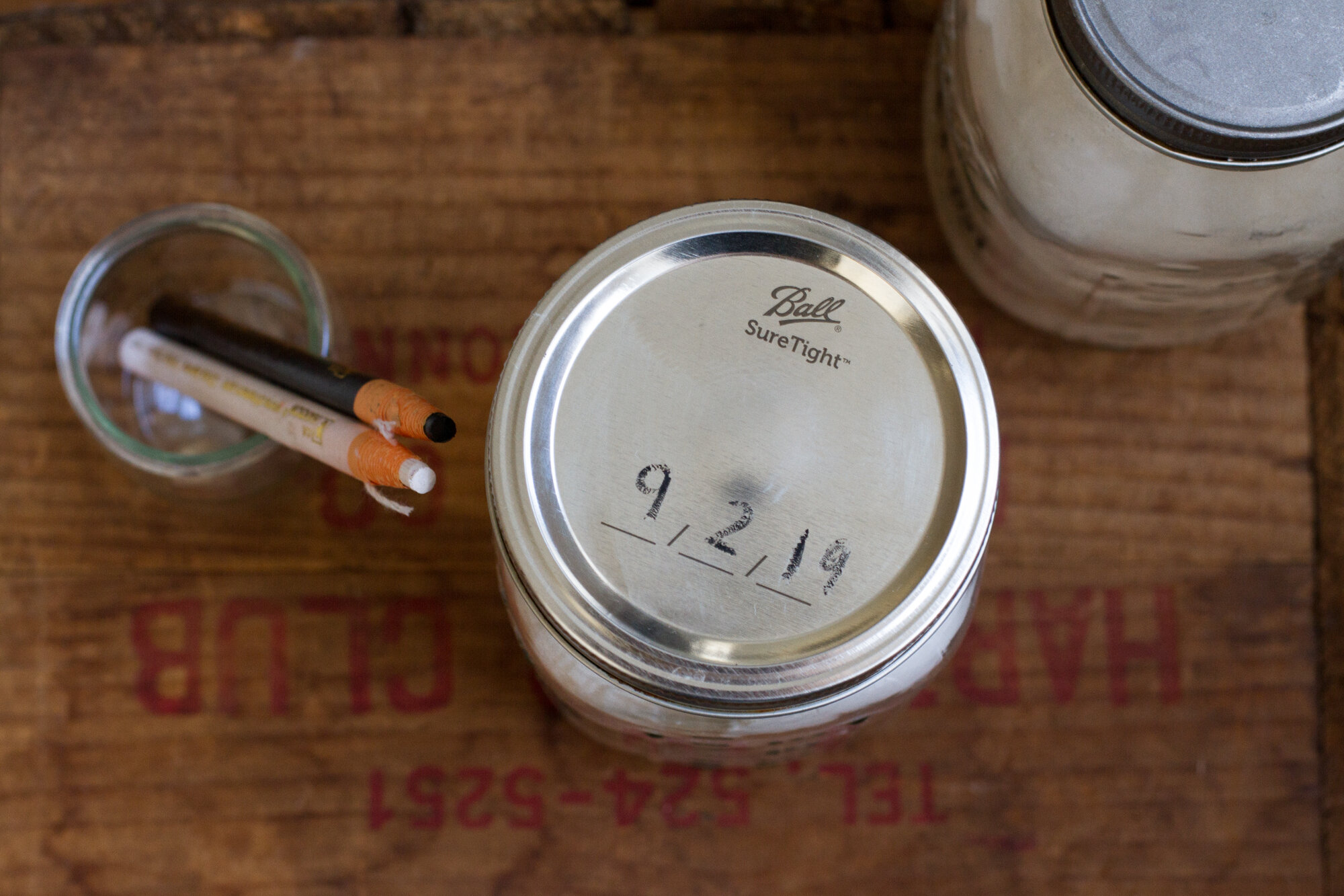 labeling glass jars with china markers  | reading my tea leaves