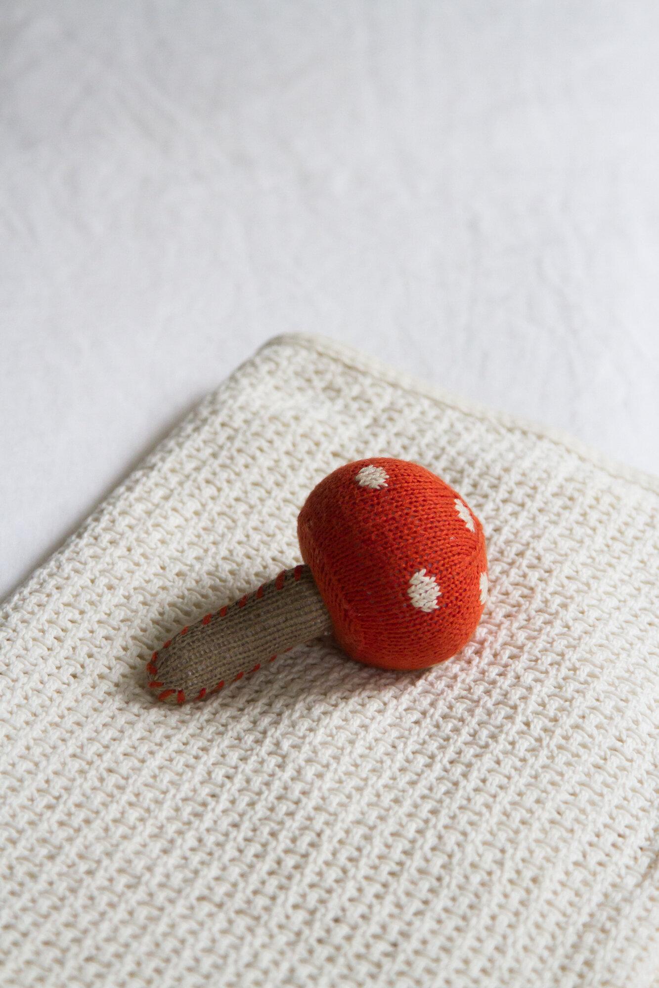 mushroom baby rattle | reading my tea leaves